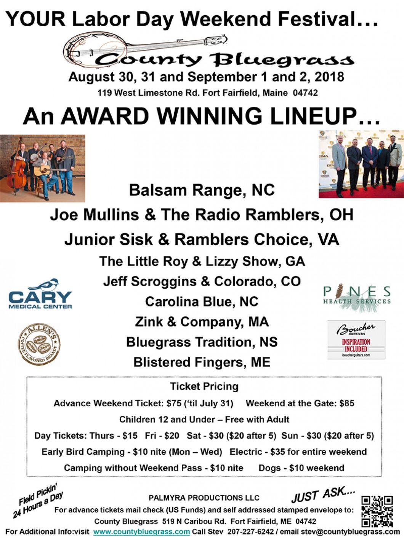 Bluegrass Concert Schedule   Fort Fairfield, ME: County